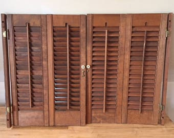 Vintage Working Louvered Wooden Hinged Interior Shutters; 2 Pair; 4 Shutter  Set