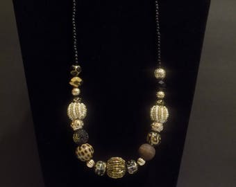 Black, gold, white and leopard print beaded necklace