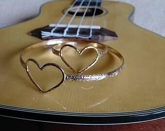 14k Gold Fill Heart Hawaiian Heirloom bracelet