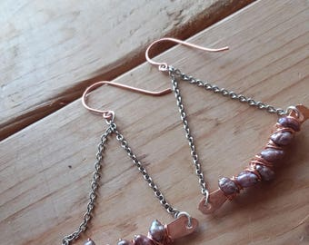 Freshwater Pearl and Copper Trapeze Earrings