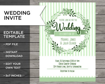 Moss Green Wedding, Wedding Invite, Wedding Invitation, Customisable Invitation, Green Wedding, Edit at home, Print your own, WG110