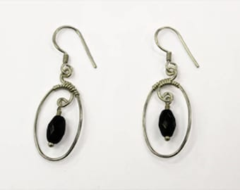 Silver and Black Agate Earrings