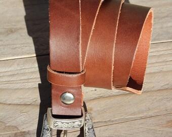 Cognac brown leather on measure 3 cm, Indian earring, western belt