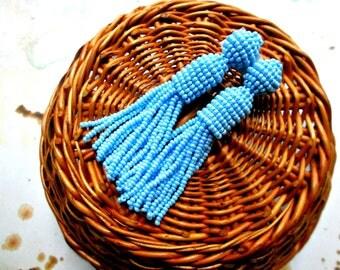 Sky blue/oscar de la renta/handmade earrings/long tassels/clip on earrings