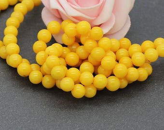 20 6 mm yellow color PEJ149 Mashan jade beads
