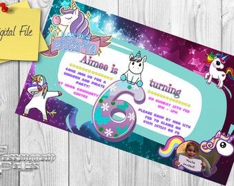Personalized children's birthday party invite/invitation - Unicorns!