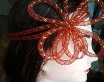Bibi fascinator headdress red ceremony