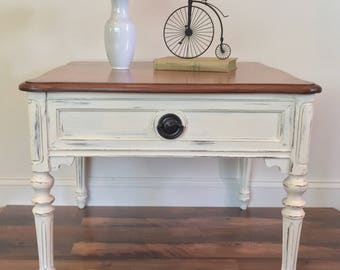Ivory Creme French Provincial Distressed End Table Coffee Accent