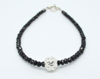 Black spinel and sterling silver gothic skull charm long bracelet