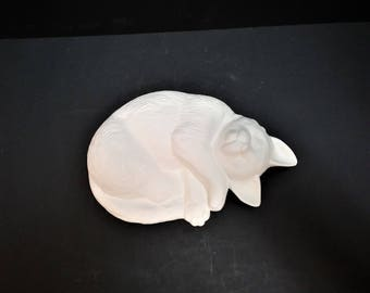 Sleeping Cat Ceramic Bisque Ready-to-Paint