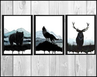 Deer - Wolf and Bear -  Print  Poster