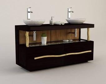 Furniture teak bathroom CREEPER double basin - 140 cm