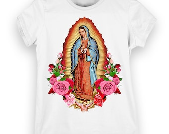 Virgen de Guadalupe with Roses Ladies t-shirt