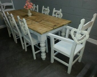 Rustic 7ft Shabby Chic table set