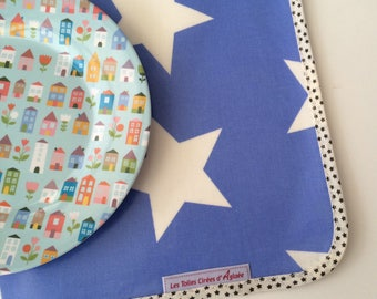 Royal Blue placemat pattern stars oilcloth
