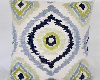 """20 x 20"""" Blue/Green Medallion Embroidered Ikat Pillow Cover - Designer Fabric - Ikat Throw Pillow - Ikat Accent Pillow - Modern Pillow"""