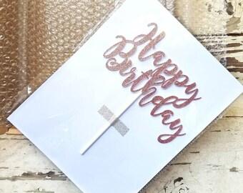 Birthday cake topper - Happy Birthday cake topper - birthday party decorations - Rose Gold Birthday - Gold Birthday - personalized customize