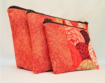 Set of 3 Cotton Zip Top Pouches in Orange and Gold Prints