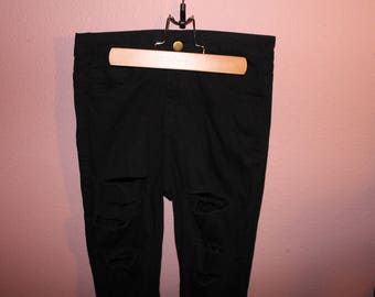 Vintage Black High Waisted Ripped Jeans