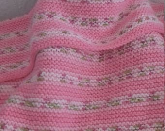 Hand Knitted Pink Baby Blanket