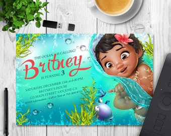 Moana Invitation, Moana Birthday, Moana Invite, Moana Party, Moana Printable, Moana Digital, Moana Card