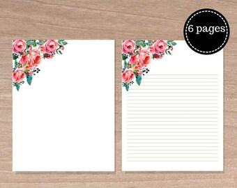Floral Writing Paper Printables, Letter paper, 8.5 x 11 in, Floral Card Paper, Floral letter paper, Instant Downloads, Floral Scrapbook kit