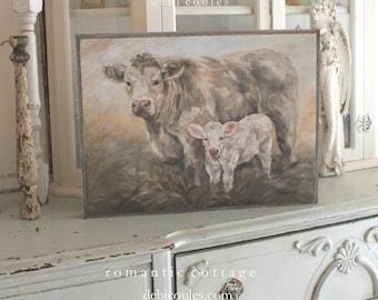"Original ""Sweet Pea"" by Debi Coules, Printed on Wood and Framed in Barnwood"