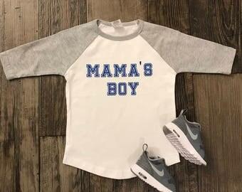 Mama's boy shirt- Mama's boy baseball tee