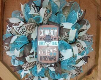 Cowboy Cowgirl Wreath