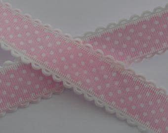 1 m pink dotted Ribbon white 25mm wide lace