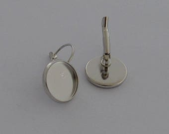 6 supports for cabochon 14mm Platinum earrings