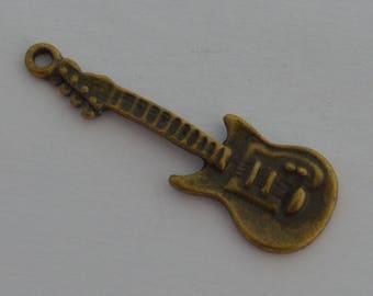 5 pendants 36x12mm antique bronze guitar