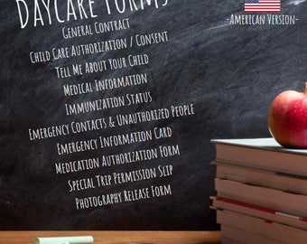 Daycare Forms - American Version - Editable Forms / Templates - Daycare Contract - Authorization Forms - Childcare Forms