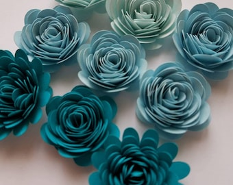 Set of 12 Ocean Shades Rolled Paper Roses, Paper Flowers, Shadow Box Flowers, Quilled Flowers