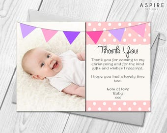 Personalised Christening - Naming Day - Baptism Photo Thank You Cards | Baby Boy or Girl | Birthday | Christening Thank You Cards