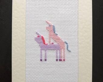 Handmade Rude Unicorn Cross Stitch Card - Happy F*ckin' Birthday - Adult - Mature