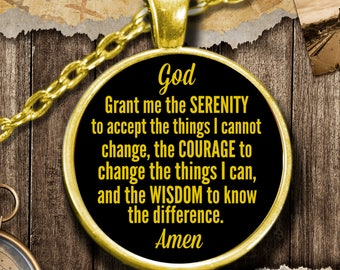 Serenity prayer necklace etsy serenity prayer pendant necklace 18k gold or sterling silver mozeypictures Images