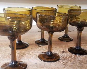 6 Hand Blown Champagne Coupe Glasses
