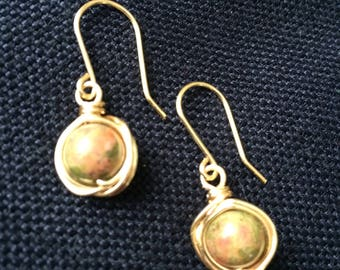 Unakite Wrapped Orb Earrings