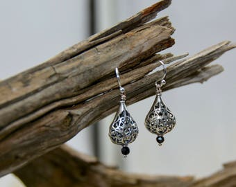 Sterling Silver Florentine Drop Earrings
