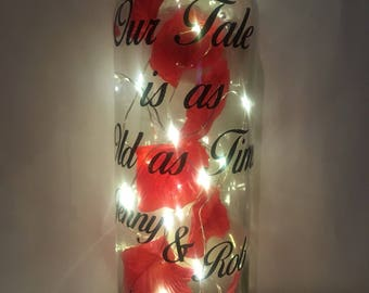 Beauty and the Beast Enchanted rose inspired personalised bottle light /lamp