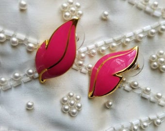 Gorgeous Hot Pink And Gold Leaf Earrings