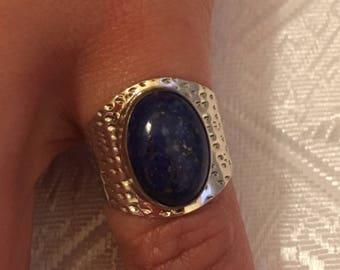 Lapis lazuli natural, 925 silver sterling ring / size 51