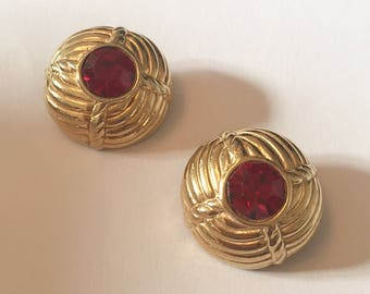 CINER Earrings, Red Glass, 1960s Vintage Jewelry Accessory