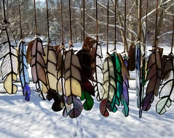 Large Hand Crafted Stained Glass Feather Sun Catcher Window Decor