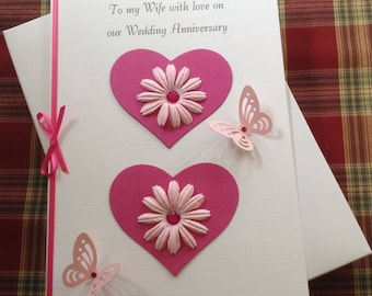 Handmade Boxed Anniversary 3D Card for Wife Partner or Girlfriend Pink Hearts, Flowers and Butterflies
