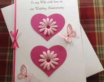 Handmade boxed 3d anniversary card wife partner girlfriend a5