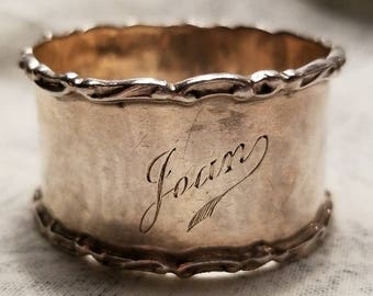 Beautiful Victorian Napkin Ring Silver with Name, Hallmarked Walker & Hall with Sovereign Head Mark, Rare