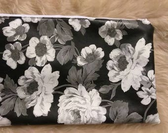 Black and White flower clutch