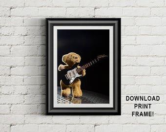 Teddy Bear Print, Bear playing guitar, Musician photograph, Teddy bear photograph, Room decor, Wall Art, digital download, printable